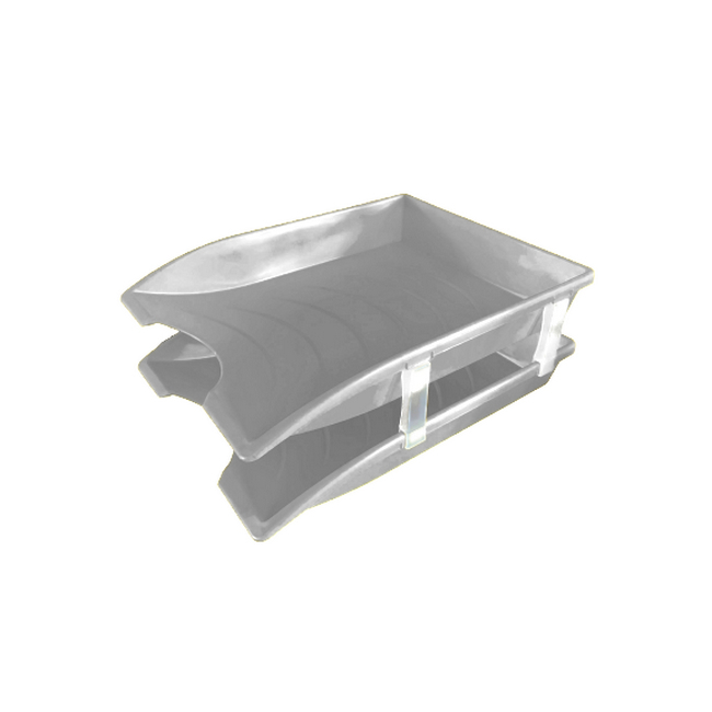 Picture of Letter Tray - Plastic - Double - 35 x 26 x 6 cm - Grey - Pack of 20 - 013LT-D-GY
