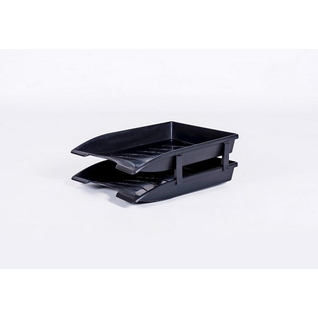 Picture of Letter Tray - Plastic - Double - 35 x 26 x 6 cm - Black - Pack of 20 - 013LT-D-BL