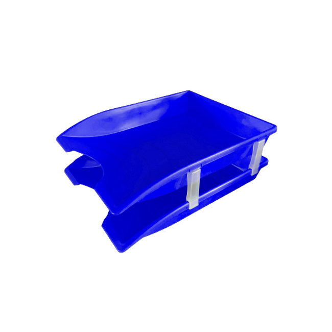 Picture of Letter Tray - Plastic - Double - 35 x 26 x 6 cm - Blue - Pack of 20 - 013LT-D-B