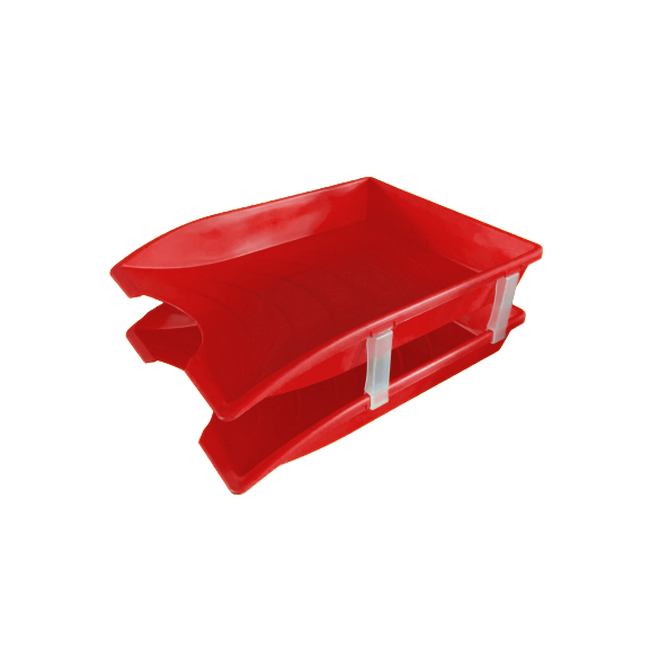 Picture of Letter Tray - Plastic - Double - 35 x 26 x 6 cm - Red - Pack of 20 - 013LT-D-R