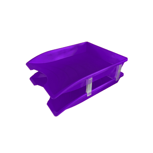 Picture of Letter Tray - Plastic - Double - 35 x 26 x 6 cm - Purple - Pack of 20 - 013LT-D-P