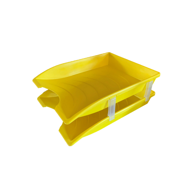 Picture of Letter Tray - Plastic - Double - 35 x 26 x 6 cm - Yellow - Pack of 20 - 013LT-D-Y