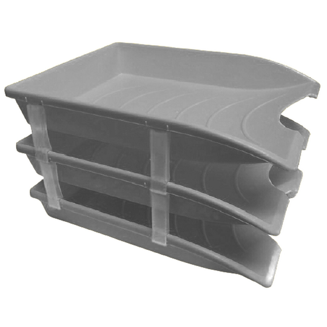 Picture of Letter Tray - Plastic - Triple - 35 x 26 x 6 cm - Grey - Pack of 21 - 014LT-T-GY
