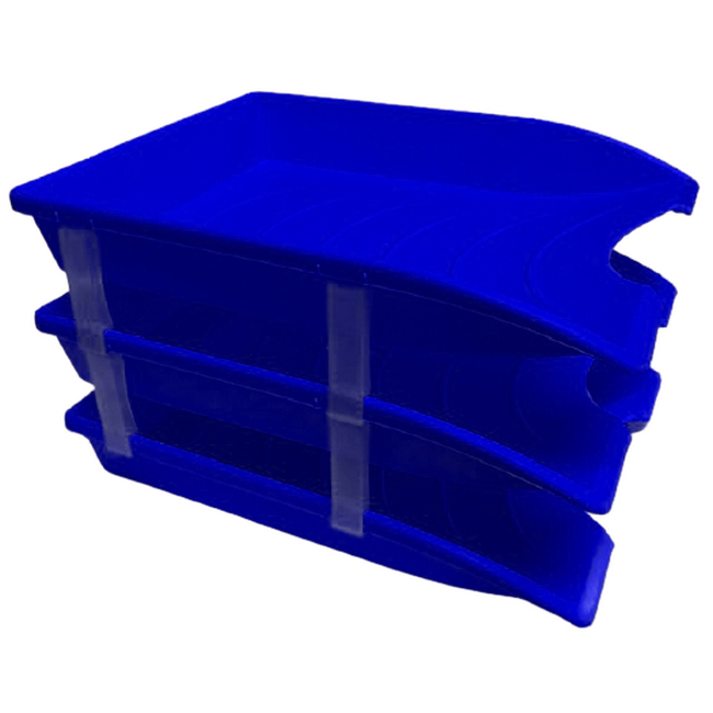 Picture of Letter Tray - Plastic - Triple - 35 x 26 x 6 cm - Blue - Pack of 21 - 014LT-T-B