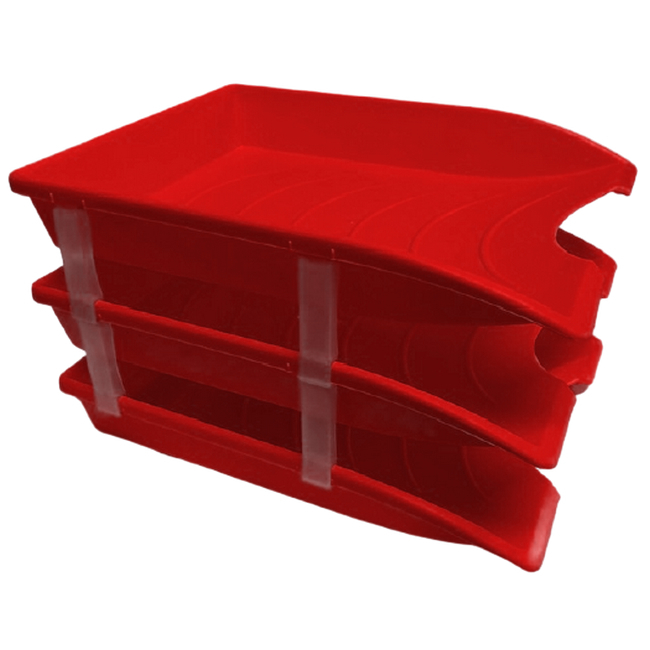 Picture of Letter Tray - Plastic - Triple - 35 x 26 x 6 cm - Red - Pack of 21 - 014LT-T-R