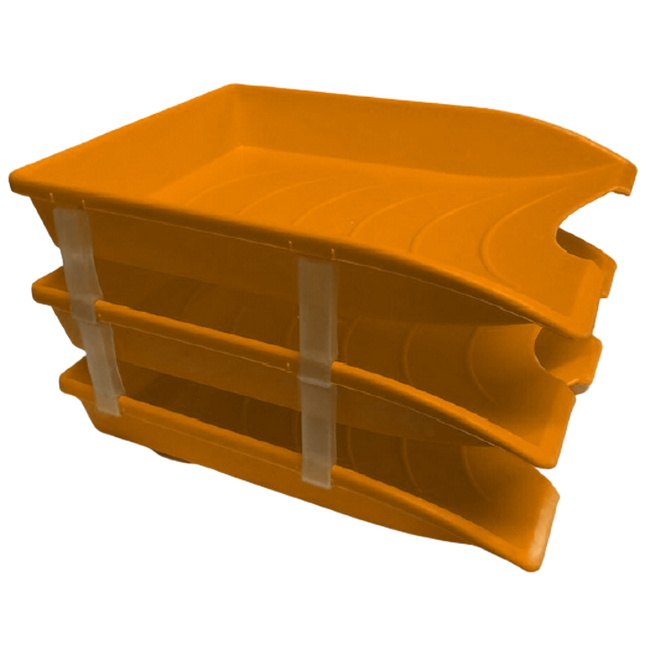 Picture of Letter Tray - Plastic - Triple - 35 x 26 x 6 cm - Orange - Pack of 21 - 014LT-T-O