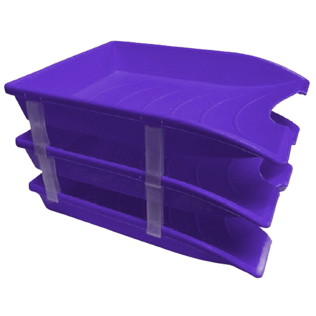 Picture of Letter Tray - Plastic - Triple - 35 x 26 x 6 cm - Purple - Pack of 21 - 014LT-T-P