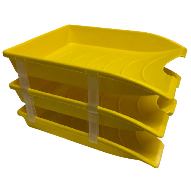 Picture of Letter Tray - Plastic - Triple - 35 x 26 x 6 cm - Yellow - Pack of 21 - 014LT-T-Y