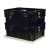 Picture of Nesting Agri Crate - Plastic Box - Semi-vented Base and Vented Sides - 60 x 40 x 24 cm - Recycled Material - Black - PI-720B-black