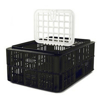 Picture of Live Chicken Crate with Lid - Plastic Bird Coop - Vented - 74 x 53 x 31 cm - Recycled Material - Black - PI-LB10-w_Lid-black
