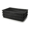 Picture of Stack Nest Crate - Plastic Box - Solid Sides and Base - 60 x 40 x 7.5 cm - Recycled Material - Black - PI-647-S-black