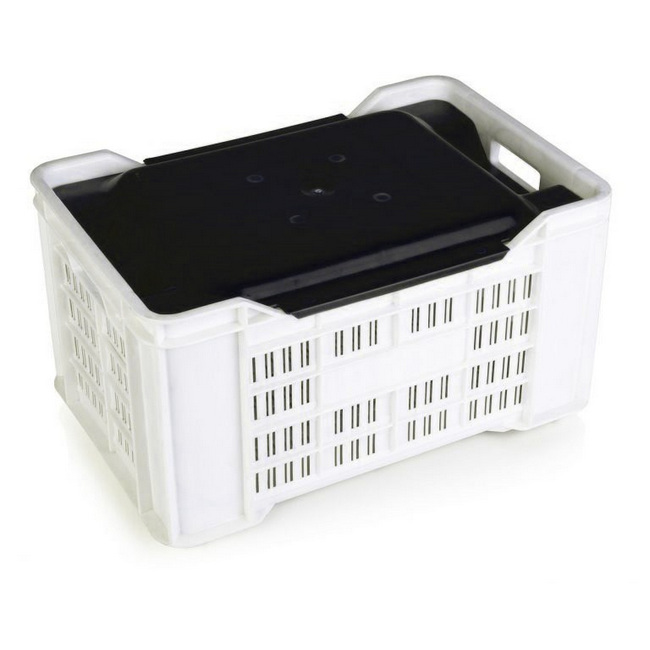 Picture of Lid for Stack Crate - PLI-PI-401 Agri Lug - 50 x 35.5 x 5.5 cm - Recycled Material - Black - PI-401-Lid-black