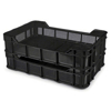 Picture of Stack Crate - Plastic Box - Vented Base and Sides - 53 x 35.5 x 11.5 cm - Recycled Material - Black - PI-430-Vented-black