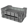 Picture of Stack Crate - Plastic Box - Vented Base and Sides - 53 x 35.5 x 11.5 cm - Recycled Material - Grey - PI-430-Vented-grey