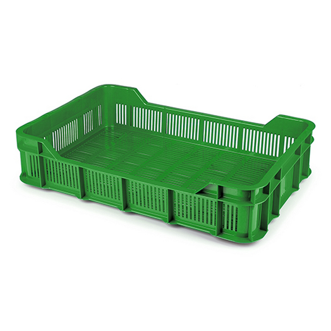 Picture of Stack Crate - Plastic Box - Vented Base and Sides - 53 x 35.5 x 11.5 cm - Recycled Material - PI-430-Vented-stock