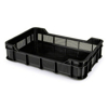 Picture of Stack Crate - Plastic Box - Solid Base and Vented Sides - 53 x 35.5 x 11.5 cm - Recycled Material - Black - PI-430-SolidB-black
