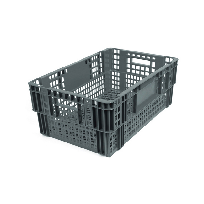 Picture of Nesting Agri Crate - Plastic Agri Box - Vented Base and Sides - 60 x 40 x 24 cm - Recycled Material - Grey - PI-720-grey