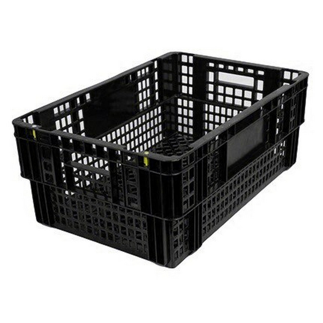 Picture of Nesting Agri Crate - Plastic Agri Box - Vented Base and Sides - 60 x 40 x 24 cm - Recycled Material - Black - PI-720-black