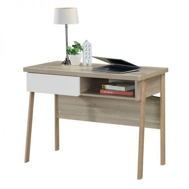 Picture of Office Desk - One Drawer - Alaska - 75 x 50 x 100 cm - Sonoma Oak and White - CST 1060