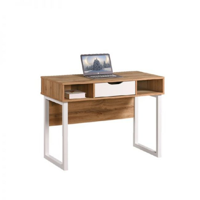 Picture of Office Desk - One Drawer - Wisconsin - 75 x 50 x 100 cm - Wotan Oak and White - CST 1240