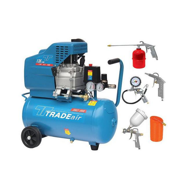 Picture of Compressor with Air Tool Kit - Belt Drive - Lubricated - 24L - 1.1kW - 1.5HP - 5 Piece - MCFRC108