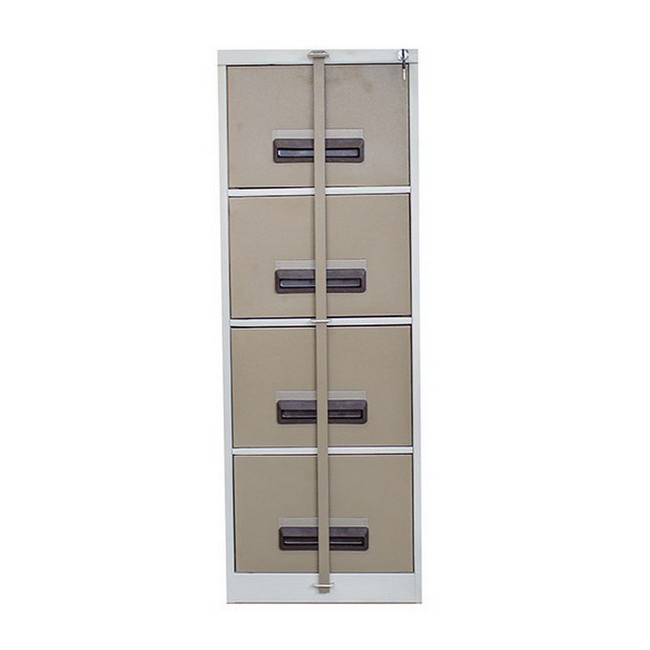 Picture of Steel Office Filing Cabinet - 4 Drawer File - Security Bar - Knock Down (Requires Assembly) - 132 x 47 x 63 cm - 4FC01KD-ivorykaroo