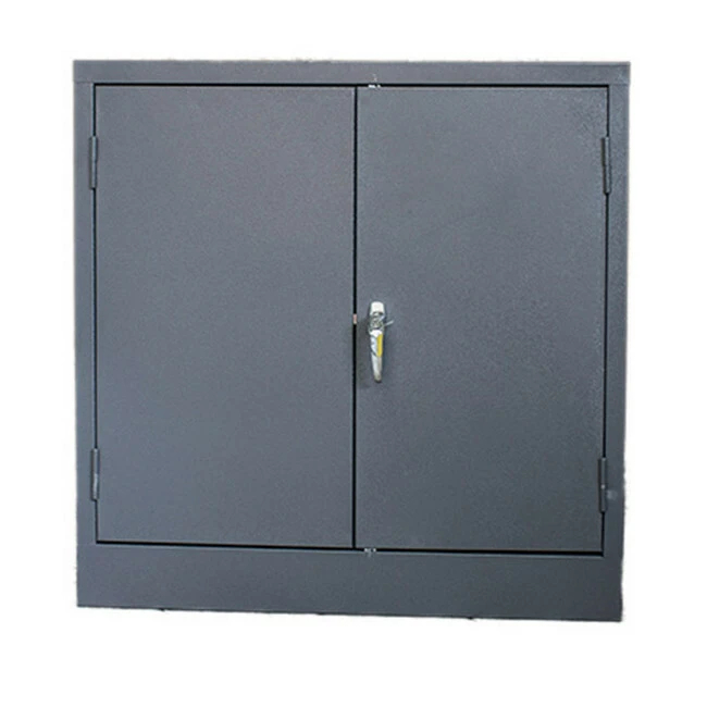 Picture of Steel Cupboard - Metal Stationery - 2 Shelves - Hammertone Grey - Knock Down (Requires Assembly) - 90 x 90 x 45 cm - SC004KD-grey