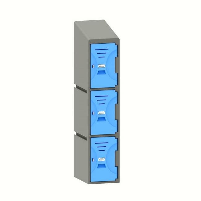 Picture of Plastic Locker - Solid Door - Slant Top - 3 Tier - 45.5 x 31 x 148 cm - PA439A