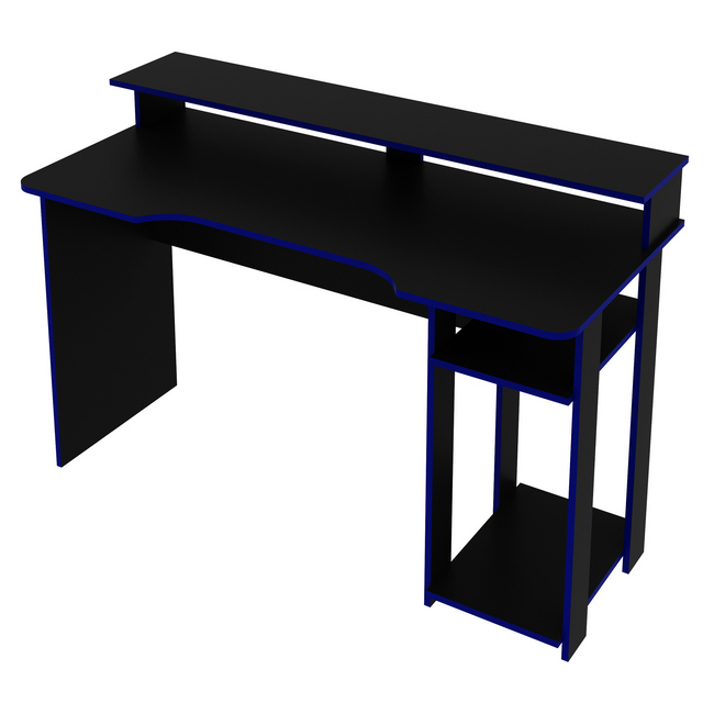Picture of Gaming Desk - Monitor Stand - 89.5 x 60 x 136 cm - Black and Blue - ME4153.0003