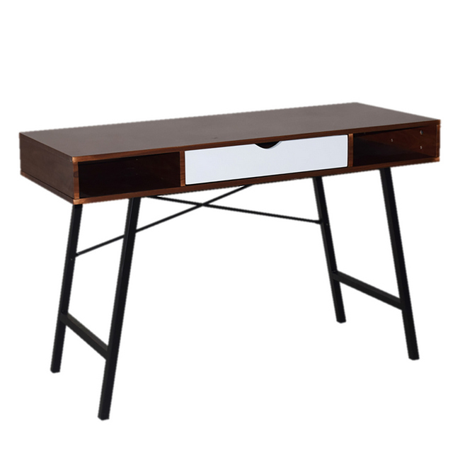 Picture of Office Desk - One Drawer - Kansas - 76 x 48 x 120 cm - Dark Brown and White - CD-17120