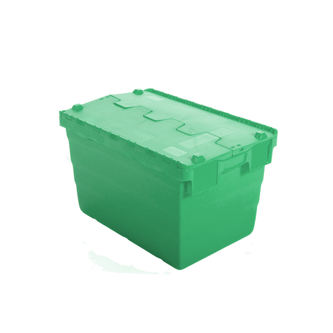 Picture of Crate - Security Container - Plastic ALC - Attached Hinged Lid - 7L - 30 x 20 x 18.4cm - Green - ALC-185-Green