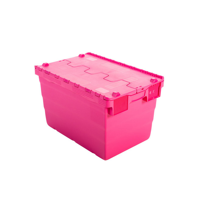 Picture of Crate - Security Container - Plastic ALC - Attached Hinged Lid - 52L - 60 x 40 x 32cm - Pink - ALC-320-Pink