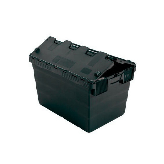 Picture of Crate - Security Container - Plastic ALC - Attached Hinged Lid - 52L - 60 x 40 x 32cm - Black - ALC-320-Black