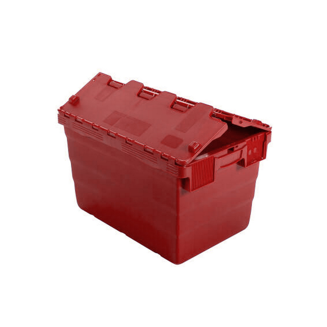 Picture of Crate - Security Container - Plastic ALC - Attached Hinged Lid - 52L - 60 x 40 x 32cm - Red - ALC-320-Red