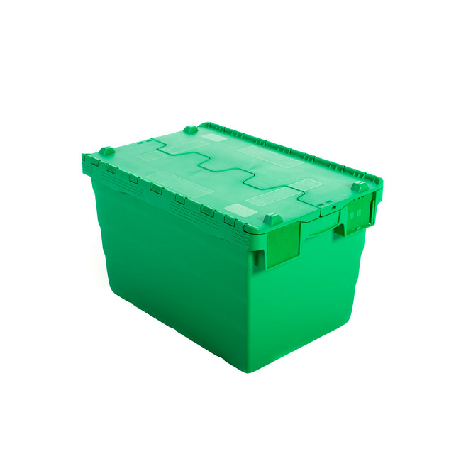 Picture of Crate - Security Container - Plastic ALC - Attached Hinged Lid - 68L - 60 x 40 x 36.5cm - Green - ALC-365-Green