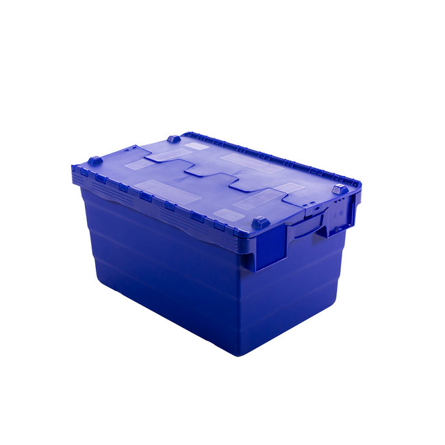 Picture of Crate - Security Container - Plastic ALC - Attached Hinged Lid - 68L - 60 x 40 x 36.5cm - Blue - ALC-365-Blue