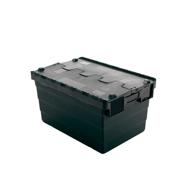 Picture of Crate - Security Container - Plastic ALC - Attached Hinged Lid - 68L - 60 x 40 x 36.5cm - Black - ALC-365-Black