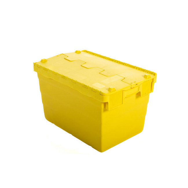 Picture of Crate - Security Container - Plastic ALC - Attached Hinged Lid - 68L - 60 x 40 x 36.5cm - Yellow - ALC-365-Yellow