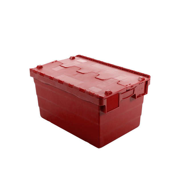Picture of Crate - Security Container - Plastic ALC - Attached Hinged Lid - 68L - 60 x 40 x 36.5cm - Red - ALC-365-Red