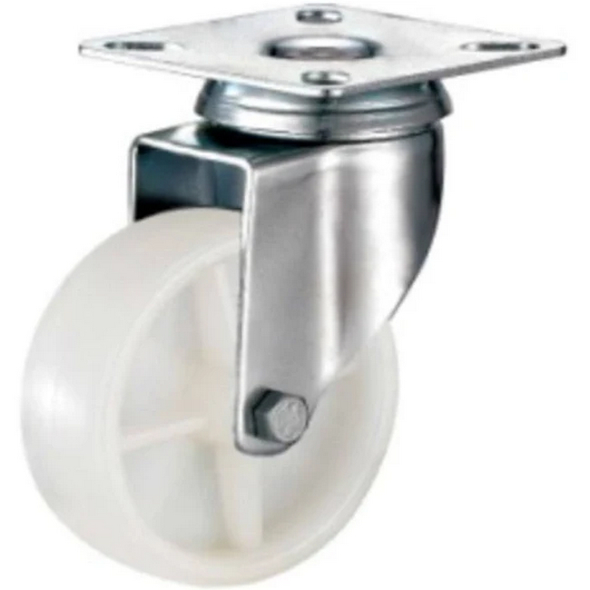Picture of Castor Wheels - Nylon - Top Swivel - Fixed Plate - White - 100mm - TOOC480