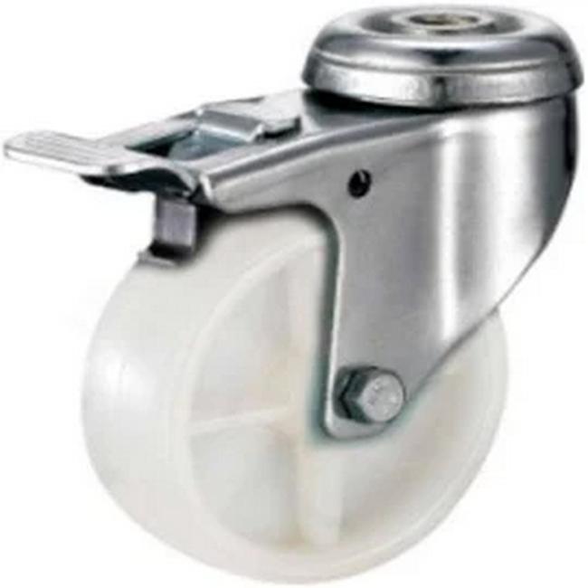 Picture of Castor Wheels - Polypropylene - Bolt Hole Swivel - Brake - White - 50mm - TOOC400