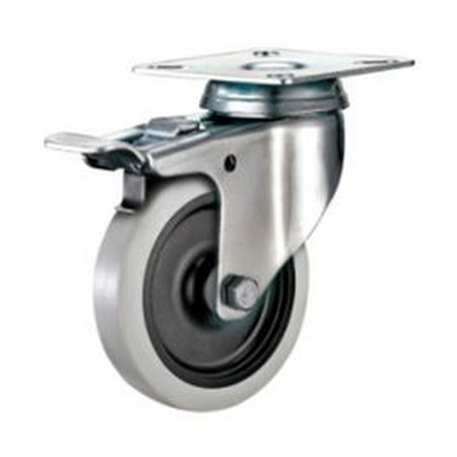 Picture of Castor Wheels - Thermoplastic Rubber - Top Swivel - Fixed Plate - 125mm - TOOC519