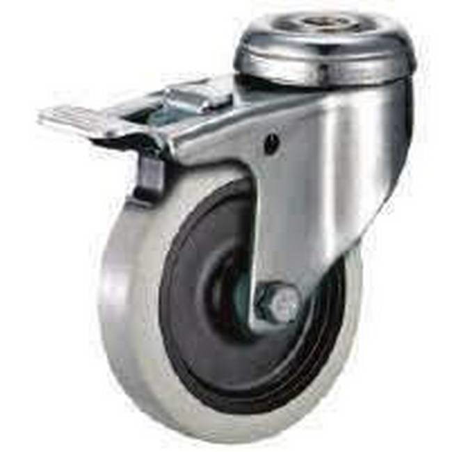 Picture of Castor Wheels - Thermoplastic Rubber - Bolt Hole Swivel - Brake - 100mm - TOOC514