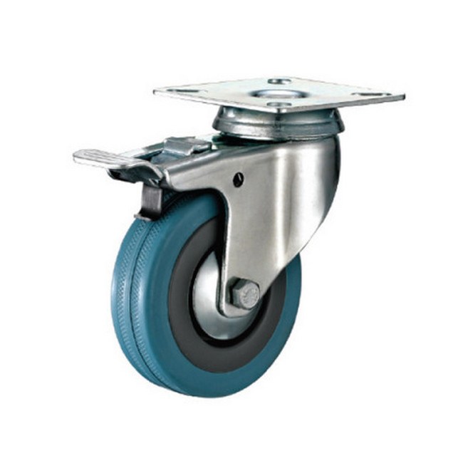 Picture of Castor Wheels - Blue Rubber - Top Plate Swivel - Brake - 100mm - TOOC447