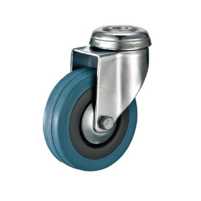Picture of Castor Wheels - Blue Rubber - Bolt Hole - Swivel - 100mm - TOOC444