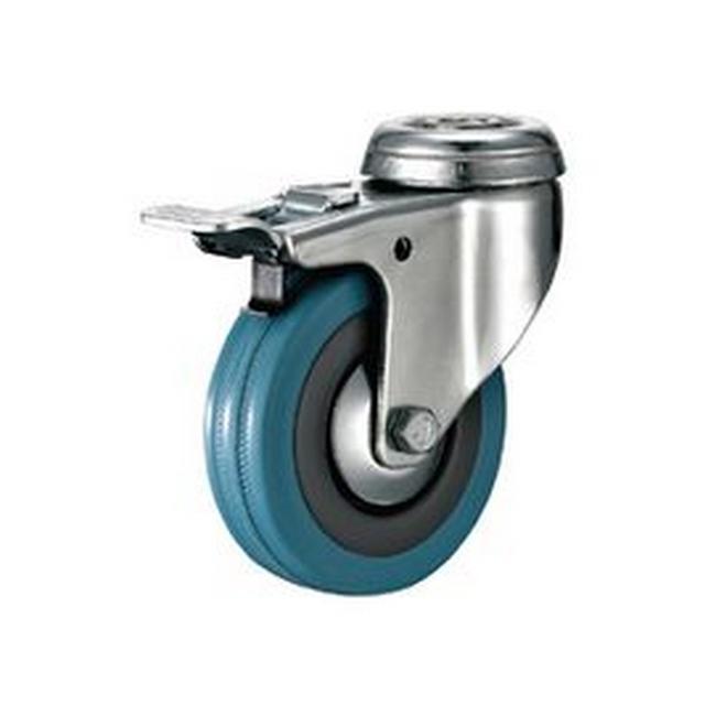 Picture of Castor Wheels - Blue Rubber - Bolt Hole Swivel - Brake - 75mm - TOOC437