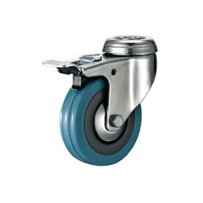 Picture of Castor Wheels - Blue Rubber - Bolt Hole Swivel - Brake - 100mm - TOOC443