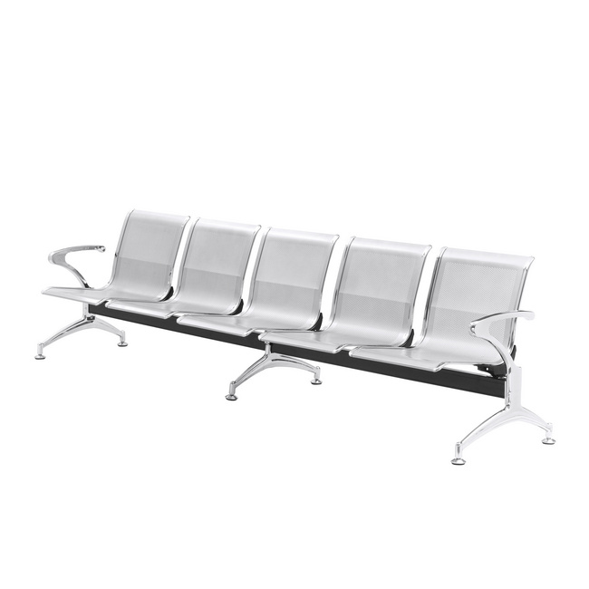 Picture of Airport Bench - Indoor Waiting Room Seat - Chrome - Five Seater - Flat Pack - 302 x 67 x 82 cm - PC05