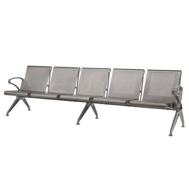 Picture of Airport Bench - Indoor Waiting Room Seat - Aluminium - Five Seater - Flat Pack - 302 x 67 x 82 cm - PF05