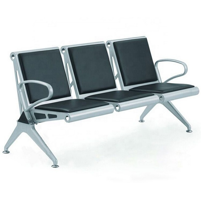 Picture of Airport Bench - Indoor Waiting Room Seat - Aluminium - Upholstered - Three Seater - Flat Pack - 185 x 67 x 82 cm - PF03A-black